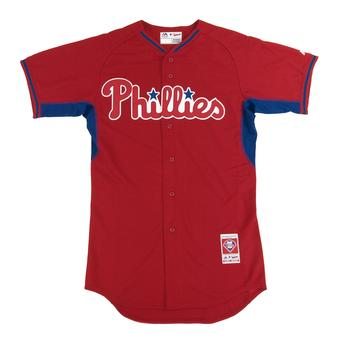 Philadelpiha Phillies Majestic Red BP Cool Base Authentic Performance Jersey