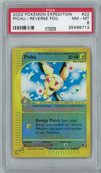 Pokemon Expedition Pichu 22/165 Reverse Foil Rare PSA 8
