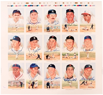 Perez Steele Uncut Sheet Autographed by 10 HOF's Including Mantle, Hunter, Killebrew