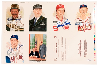 Perez Steele Uncut Sheet Autographed by 5 HOF's Including Stargell, Bench, Yastrzemski