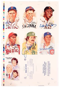 Perez Steele Uncut Sheet Autographed by 5 HOF's Including McCovey, Doerr, Hunter
