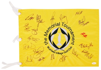 Jordan Spieth / Rory McIlroy / Phil Mickelson 2014 Memorial Pin Flag 19 Signatures (JSA)