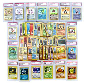 Pokemon Base Set 1st Edition Partial Set 71 out of 102 cards, 12/16 Holo Rares & 5 Rares PSA Graded