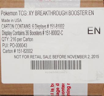 Pokemon XY BREAKthrough Booster 6-Box Case