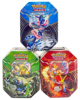 2014 Pokemon Kalos Power Summer Tin - Set of 3 (Chesnaught-EX, Delphox-EX, Greninja-EX)