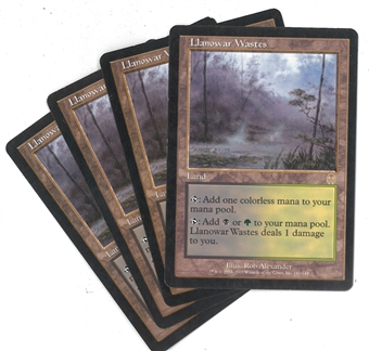 Magic the Gathering Apocalypse Single PLAYSET Llanowar Wastes X4 - SLIGHT / MODERATE PLAY