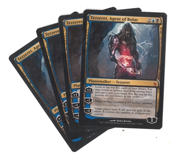 Magic the Gathering Mirrodin Besieged PLAYSET Tezzeret, Agent of Bolas X4 - SLIGHT PLAY (SP)