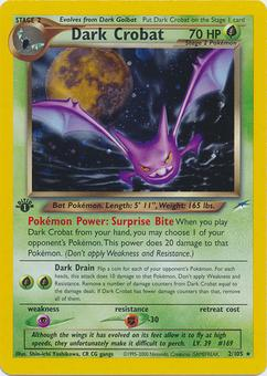 Pokemon Neo Destiny 1st Edition Single Dark Crobat 2/105 - MODERATE PLAY (MP)