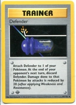 Pokemon Base Set 1 1st Ed. Defender 80 - SLIGHT PLAY (SP)