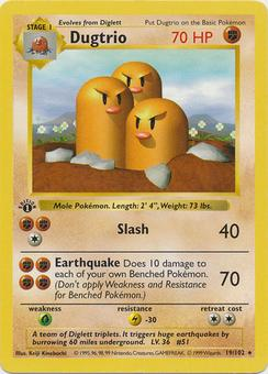 Pokemon 1st Ed. Dugtrio 19 - MODERATE PLAY (MP)