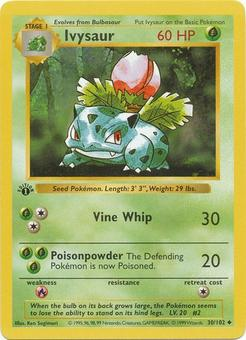 Pokemon 1st Ed. Single Ivysaur 30 - SLIGHT PLAY (SP)