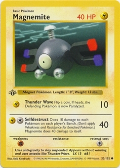 Pokemon Base Set 1st Ed. Single Magnemite 53 - SLIGHT PLAY (SP)