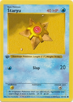 Pokemon Base Set 1st Ed. Single Staryu 65 - SLIGHT PLAY (SP)