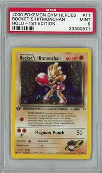 Pokemon Gym Heroes 1st Edition Rocket's Hitmonchan 11/132 PSA 9 - **23300571**