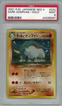 Pokemon JAPANESE Neo Destiny PSA 9 Dark Donphan - **24329097**