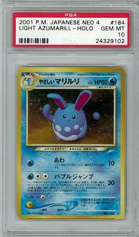 Pokemon JAPANESE Neo Destiny Light Azumarill PSA 10 - **24329102**