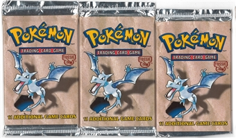 Pokemon Fossil Booster Pack X3 - Three Aerodactyl Art Booster Packs
