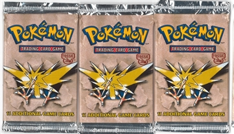 Pokemon Fossil Booster Pack X3 - Three Zapdos Art Booster Packs