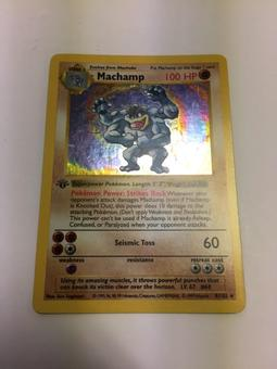 Pokemon Base Set 1 Single 1st Edition Machamp 8/102 - Shadowless - SLIGHT PLAY