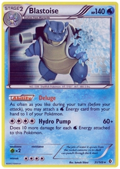 Pokemon BW Boundaries Crossed Single Blastoise 31/149 - MODERATE PLAY (MP)