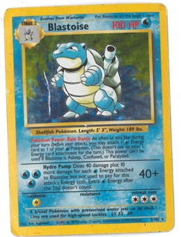 Pokemon Base Set 1 Single Blastoise - HEAVY PLAY (HP)