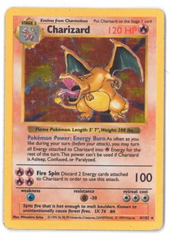Pokemon Base Set 1 Single Charizard 4/102 - Shadowless HEAVY PLAY (HP)