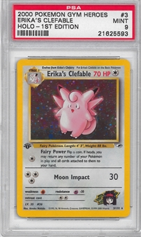 Pokemon Gym Heroes 1st Edition Single Erika's Clefable 3/132 - PSA 9 - *21625593*