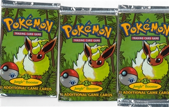 Pokemon 1st Edition Jungle Booster Pack X3 - Three Flareon Art Booster Packs