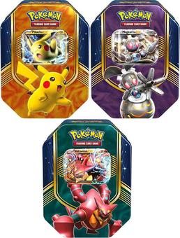 Pokemon Battle Heart Tin - Set of 3 Tins (Volcanion-EX, Magearna-EX & Pikachu-EX)