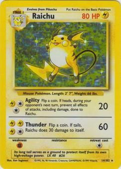 Pokemon Base Set 1 Single Raichu 14/102 - SLIGHT PLAY (SP)