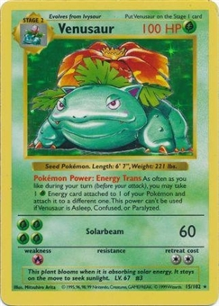 Pokemon Base Set 1 SHADOWLESS Single Venusaur 15 - MODERATE PLAY (MP)