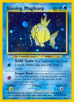 Pokemon 1st Edition Neo Revelation Single Shining Magikarp - MODERATE PLAY (MP)