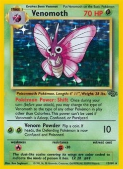 Pokemon Jungle 1st Ed. Single Venomoth 13/64 - MODERATE PLAY (MP)