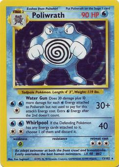 Pokemon Base Set 1 Single Poliwrath 13/102 - LIGHT PLAY