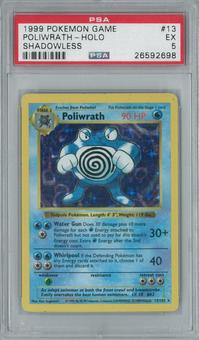 Pokemon Base Set Shadowless Poliwrath 13/102 Holo Rare PSA 5