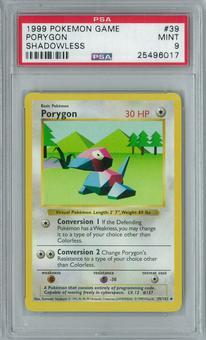 Pokemon Base Set Shadowless Porygon 39/102 Uncommon PSA 9