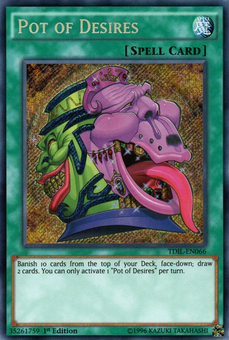 Yu-Gi-Oh The Dark Illusion 1st Edition Single Pot of Desires SECRET RARE  - NEAR MINT (NM)