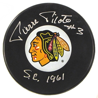 Pierre Pilote Autographed Chicago Black Hawks Hockey Puck Icebox COA