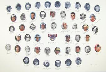 NASCAR 50TH Anniversary Autographed Lithograph - 50th Anniversary Edition - 34 Signatures with Dale Earnhardt