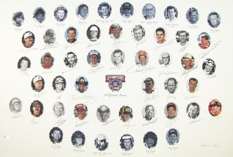 NASCAR 50TH Anniversary Autographed Lithograph - NASCAR Edition - 34 Signatures with Dale Earnhardt Sr.