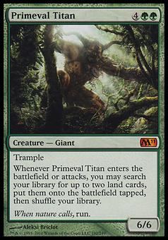 Magic the Gathering 2011 Single Primeval Titan FOIL - MODERATE PLAY (MP)