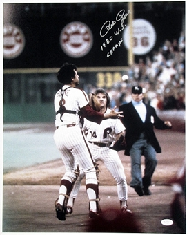 "Pete Rose Autographed 16x20 Photo ""1980 W.S. Champs"" (JSA COA) (B)"