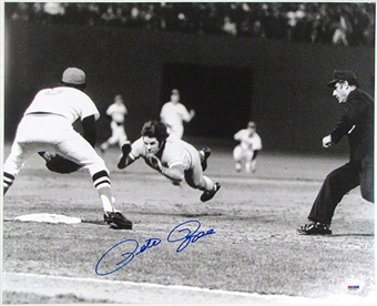 Pete Rose Autographed Cincinnati Reds 16x20 Photo (PSA COA)