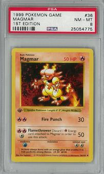 Pokemon Base Set 1st Edition Magmar 36/102 PSA 8 - **25054775**