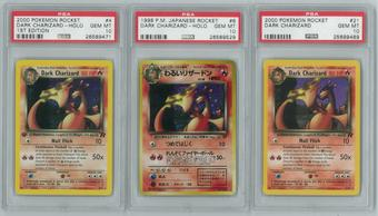 Pokemon Team Rocket Dark Charizard PSA 10 3x LOT - 1st ed 4/82, Japanese Holo Rare, Unlimited 21/82