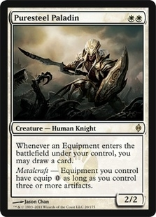 Magic the Gathering New Phyrexia Single Puresteel Paladin FOIL
