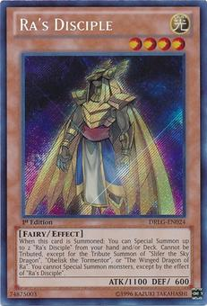 Yu-Gi-Oh Dragons of Legend 1st Edition Single Ra's Disciple Secret Rare- NEAR MINT