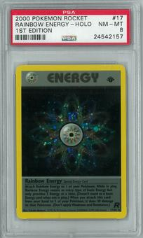 Pokemon Team Rocket 1st edition Rainbow Energy 17/82 Holo Rare PSA 8