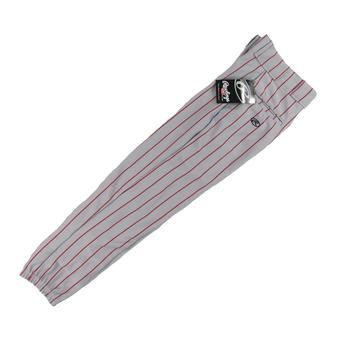 Rawlings Baseball Pants - Gray/Red Pinstripe (Adult XS)