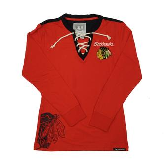 Chicago Blackhawks Old Time Hockey Red Rachel Womens L/S Jersey T-Shirt (Womens M)